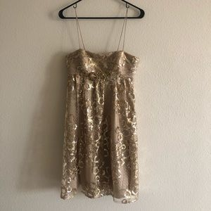 Blumarine Gold Shiny Dress with Straps